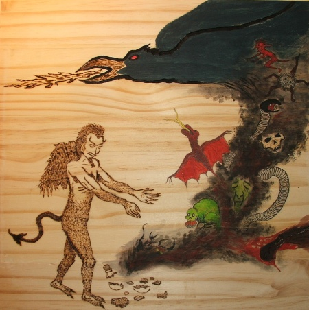 woodburn and painting on wood