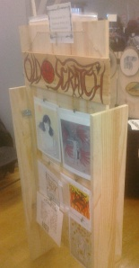 photo of wooden freestanding print display