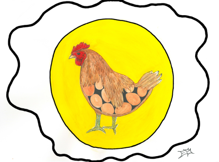 Watercolor illustration of a chicken and eggs.