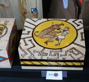 "Photo of woodburned box ""Theseus and Minotaur"""