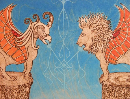 Photo of woodburn art, griffin and winged lion, with color added.