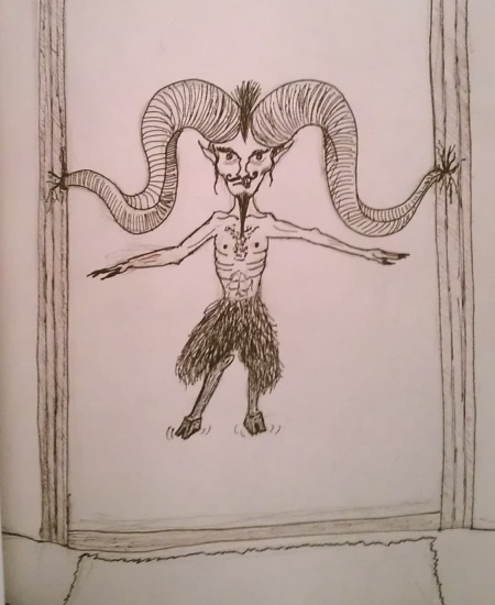 Sketch of devil stuck in doorway by his horns.