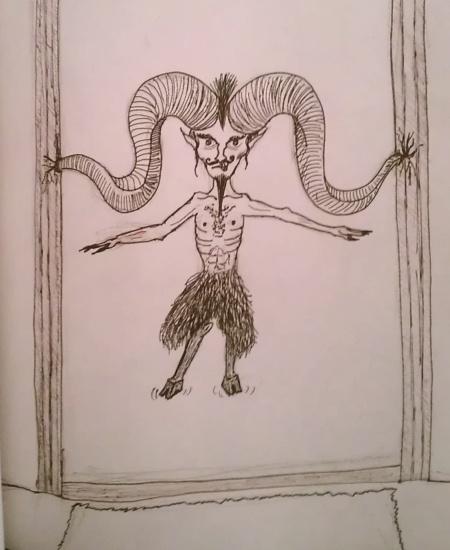 Sketch of devil stuck in doorway by his horns.